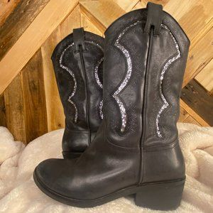 REBA Black and Silver Sequin Boots Size 8